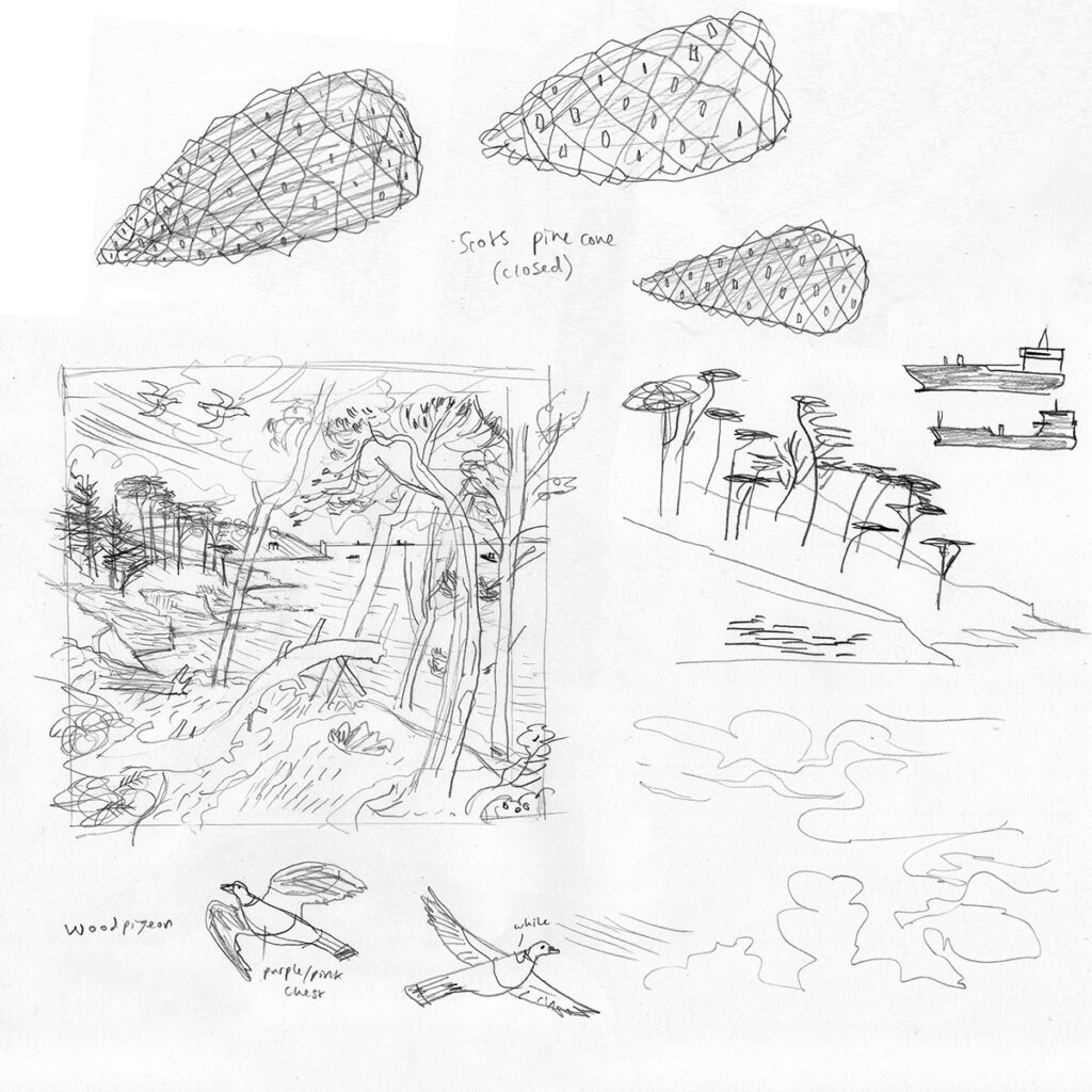 Rough planning sketches for St Anthony Pines print by Matt Johnson